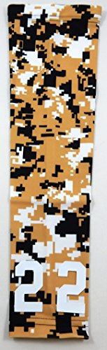 Sports Farm Custom Zahl Gold Schwarz Weiß Digital Camo Arm Sleeve, Gold Black White, Jugend Medium