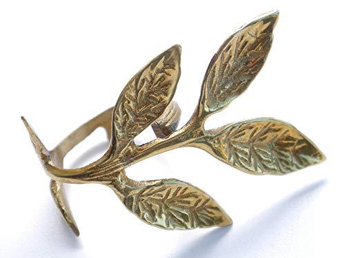 Colmore 4 goldene Serviettenringe im Set - Serviettenhalter Gold mit Blättern im edlen Design - Exklusive Tischdekoration