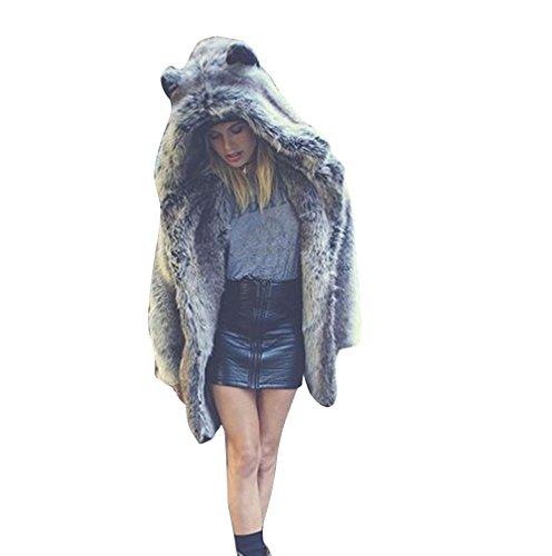 Foana pelliccia ecologica invernale donna cappotto manica lunga girocollo pelliccia sintetica capelli di struzzo breve paragrafo giacca (euxl/3xl, gray)