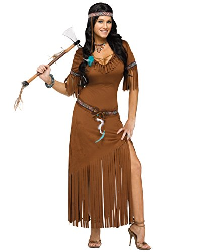 Indian Summer Ladies Fancy Dress Native American Western Womens Adults Costume (Small/Medium UK 8 -12)