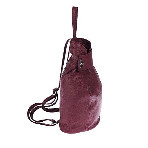 OBC Made in Italy Damen echt Leder Rucksack Daypack Lederrucksack Tasche Schultertasche Ledertasche Handgepäck Nappaleder Schwarz Bordo