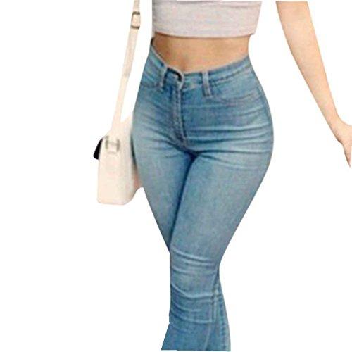 da622be07f WanYang Donne Denim Jeans Stretti Strappati Colore Puro Jeans Pantaloni  Alta Vita Jeans Blu Donna S,M,L,XL