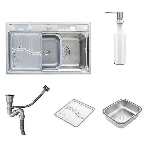 Homelavafans évier inox de cuisine à un 1 bac en acier inoxydable 304 avec distributeur de liquide...