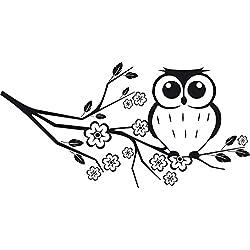 GRAZDesign 560005_30_070 Wandtattoo Eule auf Ast | Blumentattoo für Wohnzimmer - Schlafzimmer - Kinderzimmer | Blumenranken und Pflanzen an die Wand als Wand-Aufkleber (60x30cm//070 schwarz)