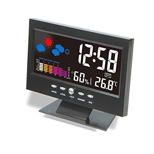 WINOMO Voiture Numérique LCD Réveil Voix Contrôle Thermomètre Hygromètre Température Mètre pour Intérieur Extérieur Utilisation - Noir