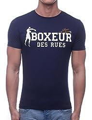 Boxeur Des Rues Sèrie Exclusive, T-Shirt Logo Bandiera Francese Uomo, Blu (Navy), L