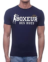 Boxeur Des Rues Sèrie Exclusive, T-Shirt Logo Bandiera Francese Uomo, Blu (Navy), XL