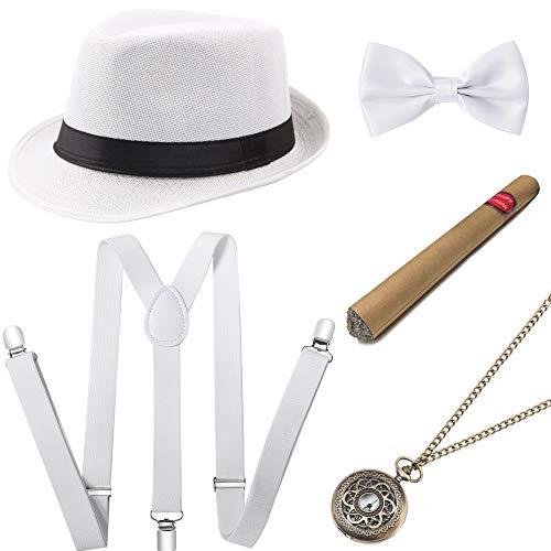 Coucoland 1920s Herren Accessoires Mafia Gatsby Kostüm Set inklusive Panama Gangster Hut Verstellbar Elastisch Hosenträger Herren Halsschleife Fliege Taschenuhr und Plastik Zigarre - Herren Weiß Gangster Kostüm