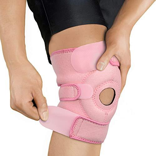 BRACOO Kniebandage - Knieschoner - Kniestütze mit Klettverschluss und Patellaöffnung für Damen und Herren - KS10 - rosa
