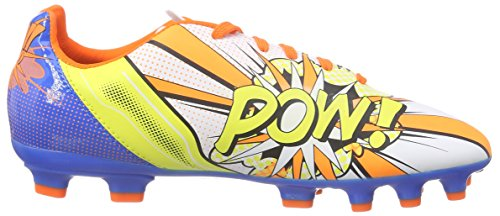 Puma Evopower 4.2 Pop Ag Jr, Chaussures de football mixte enfant Blanc - Weiß (white-orange clown fish-electric blue lemonade 01)