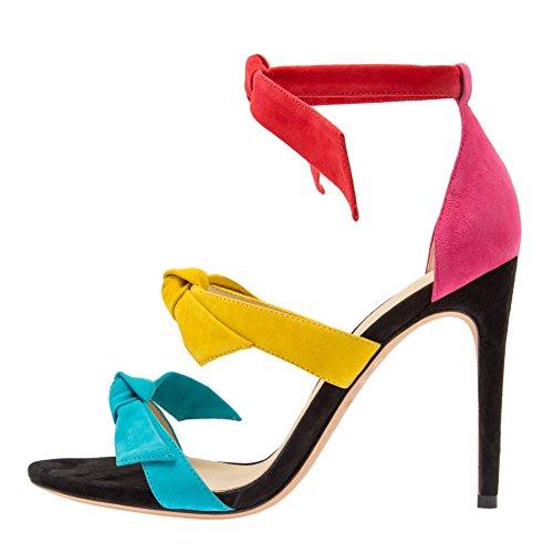 Damen Open Toe Sommer Sandalen High-Heels Stiletto Knöchelriemchen Samt Mehrfarbig
