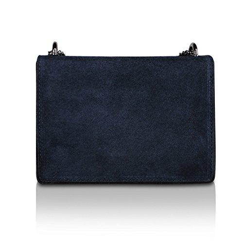 Glamexx24 Damen Clutch echt Leder Tasche Abendtasche mit Kette Handtasche Made in Italy 1.007.3 Blu