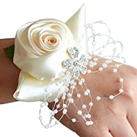 JoyFan Wedding Bridal Corsage Bridesmaid Wrist Flower Hand Flower for Prom, Party, Wedding Champagne