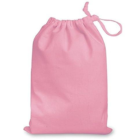 Rose rose taille M 100% coton sac avec cordon de serrage 25x 35cm–Idéal pour Cadeau Sacs, Sport, bain, Chaussures, de rangement