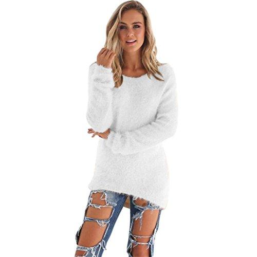 LHWY Damen Lässige solide Langarm Pullover Pullover Bluse Weiß