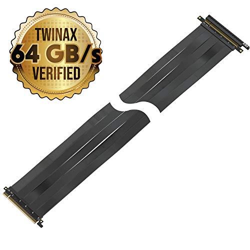 LINKUP Premium PCI-E 3.0 x16 Riser Kabel geschirmt [Schwarz] High Speed Twinaxial PCI Express GPU-Kabel Verlängerung Premium Straight -075cm Premium Straight 10~125cm