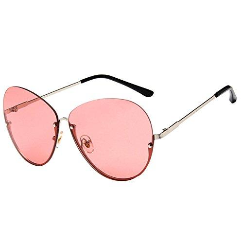 AiSi Damen Rund Metall klassische Brille, Brillenfassung, Aviator Vintage Brille, Dekobrillen, Retro-60er Jahre Stil Sonnenbrille, silberes Metallgestell rosa Gläser ohne Stärke