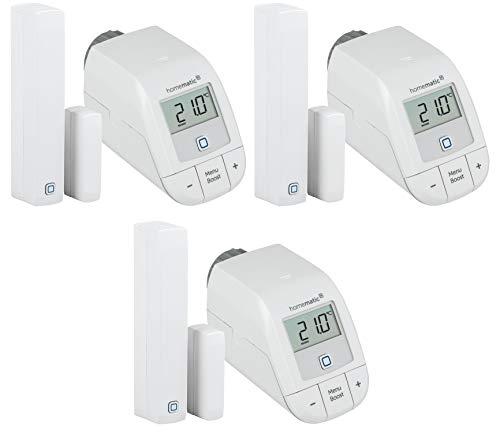 Homematic IP Set Heizen Easy Connect für 3 Räume | 3 x elektronisches Heizkörperthermostat, 3 x Fensterkontakt. Programmierbare Funk Heizungssteuerung. Stand-Alone-Betrieb – Zum Smart Home erweiterbar