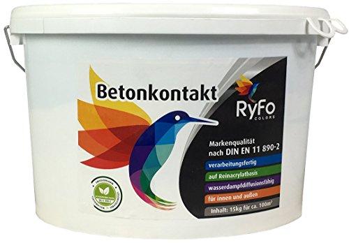 RyFo Colors Betonkontakt 15kg (Größe wählbar) - Grundierung für innen und außen, Betokontakt, gebrauchsfertig, Haftgrund, Haftbrücke, lösemittelfrei, emissionsarm, geruchsarm, zertifiziert