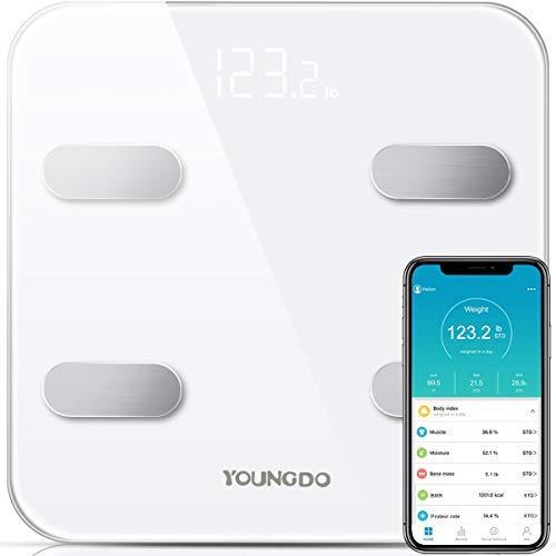 YOUNGDO Pèse Personne Impédancemètre, Impedancemetre avec 19 Données Corporelles (BMI/BFR/Muscle/Eau/Graisse Corporelle/Masse osseuse/BMR etc), Balance Impedancemetre 8 Utilisateurs