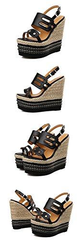 LvYuan Sandali / ufficio / carriera / scarpe da donna ultra sexy / piattaforma impermeabile / intreccio di paglia / tacco tallone / fibbia / scarpe romane Black
