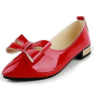Confortevole ed elegante piatto scarpe donna appartamenti rientrano Punta PU Casual tacco piatto Bowknot nero / rosso / Beige Altri beige