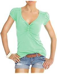 Bestyledberlin Damen T Shirt Oberteile Basic Top Shirt Stretch kurzarm mit Knöpfen t01p