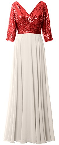 MACloth Women 3/4 Sleeve V Neck Mother Dress Sequin Chiffon Wedding Formal Gown Red-Ivory