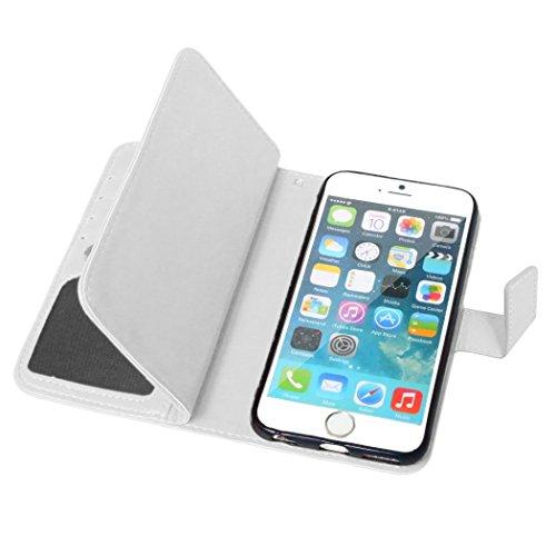 Etsue für iPhone 6S/iPhone 6 Rose Rot Leder Schutzhülle Case, 9 Kartenfächern Retro Vintage Premium Wallet Book Stil Hülle Flip Case Magnetverschluss Standfunktion Ledertasche Case Tasche Silikon Back Weiß