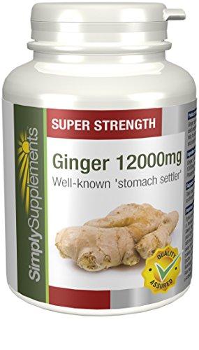 Extracto de Jengibre 12000mg Extra Fuerte - 240 comprimidos - Hasta 8 meses de suministro - Favorece la salud de las articulaciones - Una ayuda digestiva popular - SimplySupplements