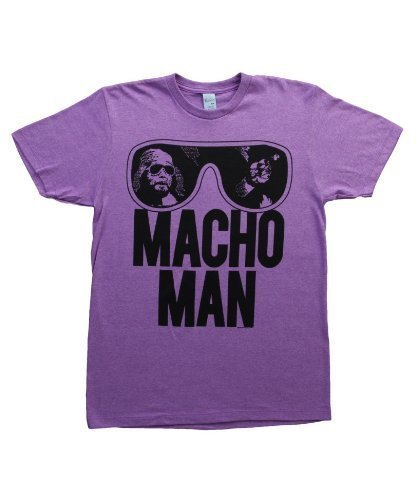 TV Store WWE World Wrestling Entertainment Old School Macho Man Glasses Erwachsene Heather Purple T-Shirt (XX-Large) - Wwe-ausrüstung