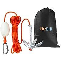 BeGrit Kit de Anclaje de Barco Pequeño, Plegable, Acero al Carbono, para Canoa Jet, esquí, Sup y Tabla de Paddle,0,7 kg con Bolsa de Transporte de Cuerda de Remolque DE 10 m