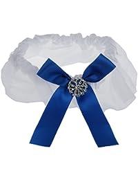 Mariage Prom Jarretière Nuptiale Strass Satin Bleu Bowknot