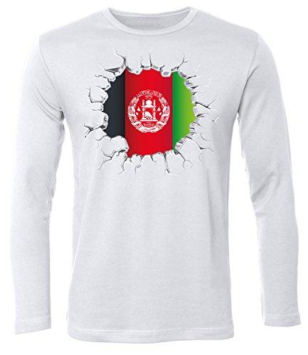 Fussball Afghanistan 5659 Fanshirt Fan Shirt Tshirt Fanartikel Artikel Männer Herren T-Shirts Longsleeve Langarm Weiss S -