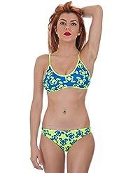 Turbo - Bikini Ranita Flour Profesional Señora Natacion Top + Slip de Entrenamiento Competicion Tira Estrecha (M)