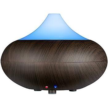VicTsing Humidificateur Ultrasonique/Diffuseur Aroma/ Diffuseur d'Huiles Essentielles / Humidificateur/ Diffuseur de Parfum de Lumière avec la Prise UE (Bois foncé)