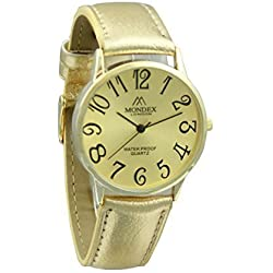 Unisex Gold Plated Mondex / Azaza / MABZ PU Leather Strap Watch (Gold Strap With Gold Dial)