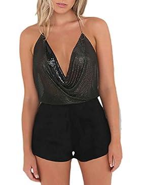 Mujeres V profunda cuello sin espalda lentejuelas lentejuelas cultivo Clubwear Top
