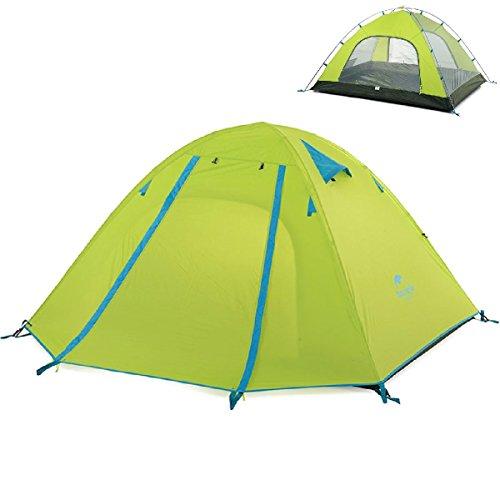 TRIWONDER 2-3-4 Person 3 Saison Camping Zelt Doppeltüren Leichte Wasserdichte Doppelschicht Backpacking Zelt für Camping Wandern (Grün, 3-4 Personen) (2p 3-jahreszeiten-backpacking-zelt)