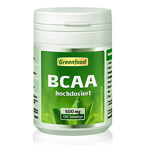 BCAA, 500 mg, hochdosiert, Tabletten, vegan – fördert den Muskelaubau, sichert den Muskelerhalt. OHNE künstliche Zusätze. Ohne Gentechnik.