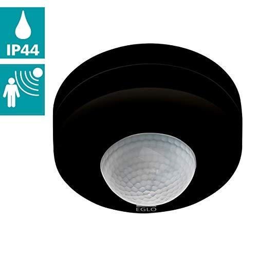 EGLO Bewegungsmelder Detect me 6, Bewegungssensor aus Kunststoff, IP44, Ø 90 mm, schwarz/weiß