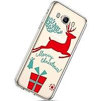 Handytasche Samsung Galaxy J7 2016 Weihnachten Hülle Clear Case Ultra Dünn Durchsichtige Silikon Kirstall Transparent Handy Hülle Bumper Cover Schutz Tasche Schale,Weihnachten Hirsch