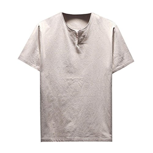 ASHOP Herren Sommer Kurzarm Bequeme Leinen Soft Solid Bluse T-Shirt Top (XXXXL, Khaki)