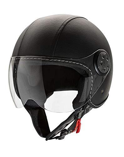 CRUIZER - Casco per moto Jet omologato in pelle di colore nero con visiera lunga antigraffio ECE 22-05, paraorecchie removibili, tessuto anallergico (M)