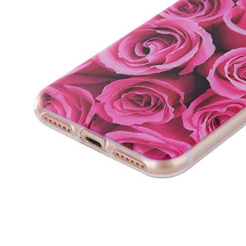 iPhone 7 4.7 Inch Case,Feeltech |Gratuit Stylet| Premium Slim Coque TPU Gel Ultra Mince Étui Protecteur Housse Clair Nouveau Collection Avec Silicium Colorée Dessin Motif Protection Couverture Arrière Une rose