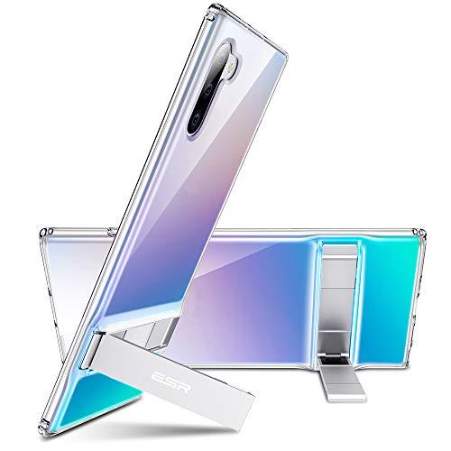 ESR Coque pour Samsung Galaxy Note10 Silicone, Protection Transparente avec Revêtement Arrière en Verre Trempé, Bords Couvrants en Silicone TPU Souple pour Galaxy Note10 (Série Crystal, Transparent)