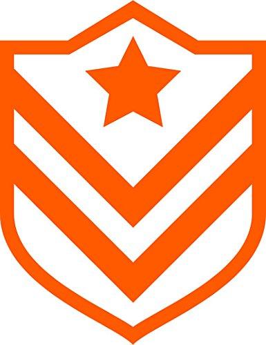 Gradi militari logo militare adesivo prespaziato senza fondo in vinile colore arancione lucido, 10 centimetri. personalizza auto, moto, caschi, camion, furgoni, fuoristrada e 4x4, car wrapping e tuning, barche, valige, vetri, mobili e qualsiasi altra superficie liscia.