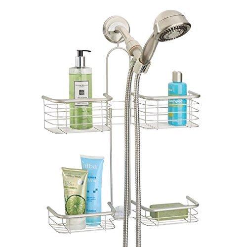 mDesign Organizador de ducha para colgar sobre el cabezal – Cesta de ducha  sin taladro con eeab1c3cf3e7