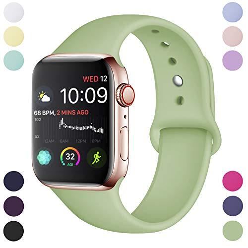 Hamile Armband Kompatibel für Apple Watch 42mm 44mm, Weiche Silikon Wasserdicht Ersatz Uhrenarmbänder für Apple Watch Series 4, Series 3, Series 2, Series 1, M/L Mint Green Apple Green Armband