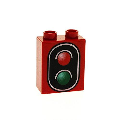 1 x Lego Duplo Motivstein rot Verkehrs Zeichen Schild 1x2x2 bedruckt Signal Eisenbahn Ampel rot grün 4066pb276